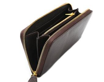 Ladies Leather Zip Around Wallet, Designed Full Grain Leather, Dark Brown Wallet, Ladies Purse, Custom Woman Wallet, Zipper Woman Wallet