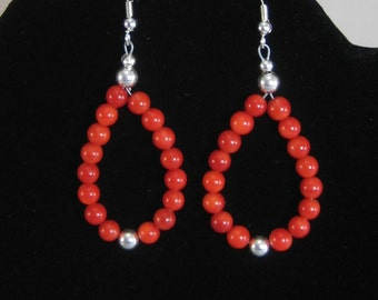 Native American Coral and Sterling Loop Earrings