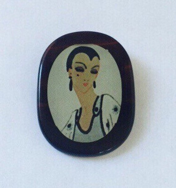 Vintage Brooch with Portrait of a Lady Mid Century Accessories - Vintage Collectible Pin