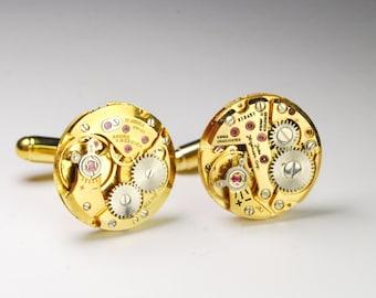 Steampunk Cufflinks Vintage Jules Jurgensen/Baume & Mercier Gold Watch Movement Mens Gear Cuff Links by Steampunk Vintage Design