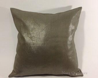 Metallic Linen Decorative Pillow Cover - Medium Weight Linen- Invisible Zipper Closure- Bolster Pillow Or Square