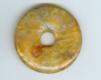 40mm Orange Yellow Crazy Lace Agate Gemstone PI Donut Focal Pendant  804B