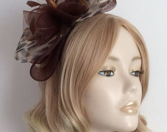 LEOPARD and CHOCOLATE BROWN Crin Fascinator, With feathers, on Matching headband