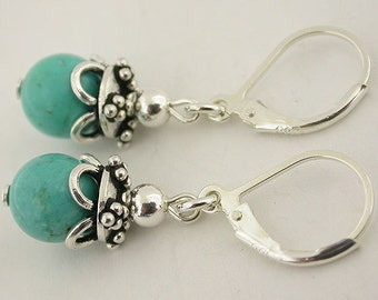 Turquoise Sterling Silver Lever Back Earrings 23