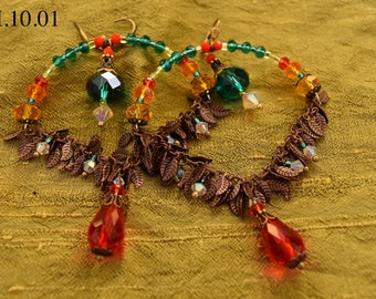 Multicolor Chandelier Earrings with Antique Brass Leaf Chain and Orange and Teal Drops