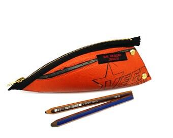 Gift for men, Pencil case cool, writing case orange, basketball gift, gift boy 16, gift for him, upcycling bag, gift teen, gift basketball