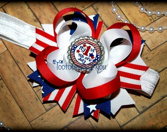 Baby's First 4th of July stars and stripes Patriotic Headband, My First 4th of July, First 4th of July hair bow