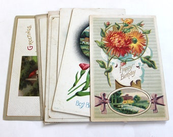 10 Early 1900s Birthday Postcards - Vintage Used Postcards
