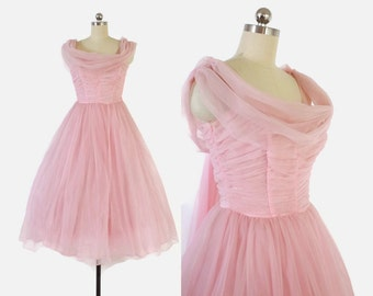Vintage 50s Party DRESS / 1950s Pastel Pink Chiffon Full Skirt Party Prom Dress with Swag XS