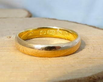 Antique wedding ring 22k yellow gold vintage ring made in 1912
