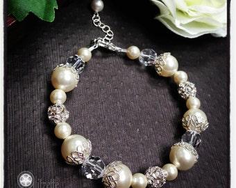 Bridal Pearl Bracelet, Mother of the Bride/Groom, Wedding Jewelry, Swarovski Pearl Bracelet, Bridal Jewelry, Wedding Party, Filigree, BF104