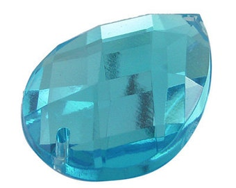 027- Acrylic Rhinestone beads, faceted, drop Sky Blue (6pcs)