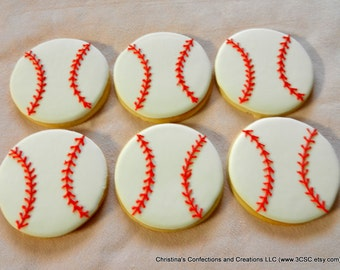 Baseball or Softball  Hand Decorated Sugar Cookies
