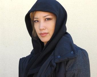 Black zippered lightweight cotton hood
