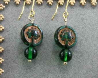 Handmade Earrings With Green And Gold Czech Glass  on Brass Wires