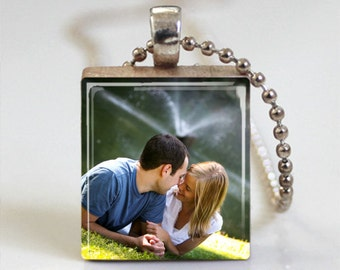 CUSTOM PHOTO CHARM Scrabble Pendant Necklace with Free Ball or Snake Chain Necklace or Key Ring