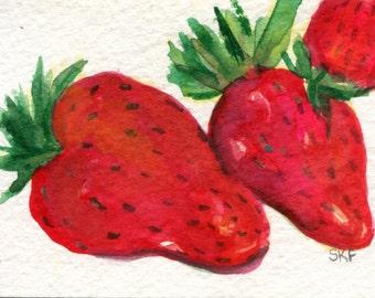 ACEO Original Strawberries Watercolors Painting, Fruit Art Card, an original watercolor paintings of strawberries, SharonFosterArt