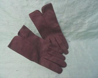 Brown cotton wrist length gloves / vintage short brown gloves / size 6