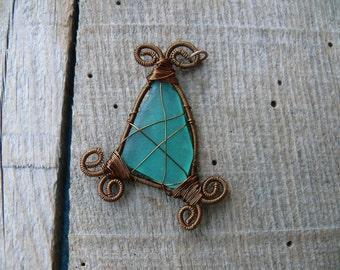Teal genuine sea glass, sea glass pendant, wire wrapped pendant, Birthday gift, genuine sea stone, beach stone pendant, brown copper wire