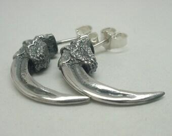 Raven Talon Ear Studs, Silver