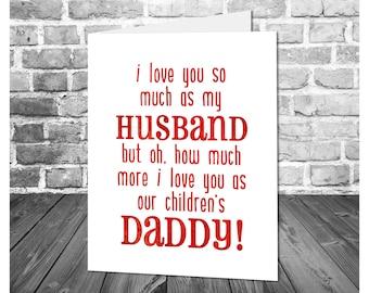 Husband Father's Day Card / I Love You Husband / Card for Husband and Father / Printable Father's Day Greeting Card