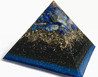 Orgone Pyramid, Lapis Lazuli Pyramid, September Birthstone Gift, Police Officer Gifts, Fathers Day Gift from Daughter, Mindfulness Gift
