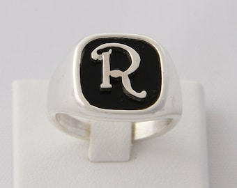 Seal with initial (letter)-(Chevalier)-Silver ring for Girl and boy, man woman