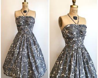 1950s Halter Dress 50s Gray Floral Sundress