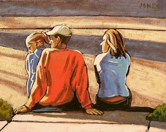 Family Watching Parade, Original Realistic Oil Painting, Urban Landscape