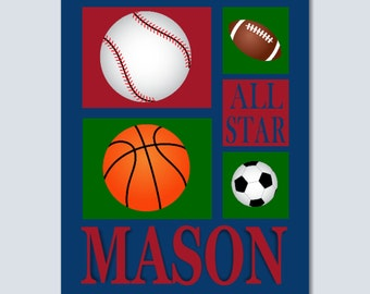 Sports Name Wall Art,Sports Kids Wall Art,Sport Monogram Wall Art,Basketball soccer baseball football room decor,sports decor-8x10 UNFRAMED