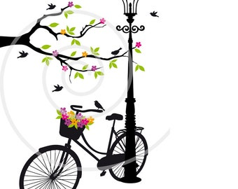 Vintage bicycle with flowers, tree and birds, digital clipart, clip art set, art print, printable wall art, vector, EPS, instant download