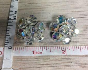 Vintage Aurora Borealis Beaded Clip On Earrings Lot BC Used
