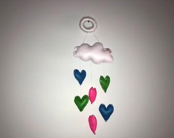 Cloud and heart door/wall hanger