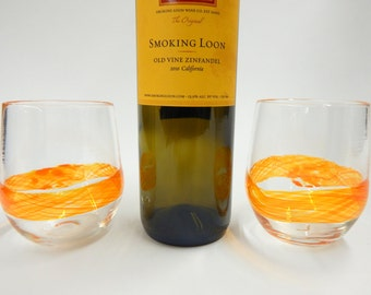 Hand Blown Art Glass Stemless Wine Glasses, Watercolor Series in Orange/Yellow Band Wedding Registry Gifts