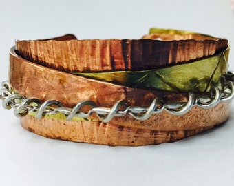 Sterling, Copper, and Brass Hand Forged Cuff Bracelet