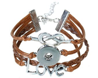 x 1 coffee MULTISTRAND leather bracelet for snap clasp 20 cm silver plated