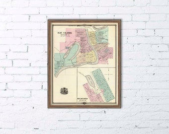"""Map of Eau Claire - Map of Medford  (Wis.) - 16 x 19.5 """" Print"""