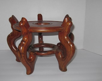 Vintage Brown Lacquered Oriental Solid Wood Footed Base