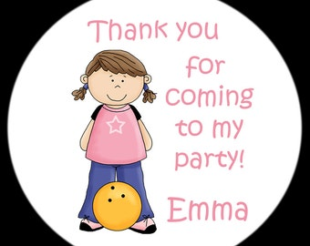 Girl Bowling Birthday Party Round Stickers - Bowling Party- Bowling Stickers- AVAILABLE in Four Sizes -