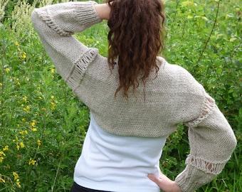 New hand knitted cotton/wool bolero,handmade shrug