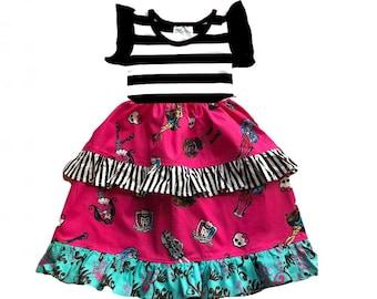 Monster High birthday party dress girls toddler pink black Momi boutique custom dress