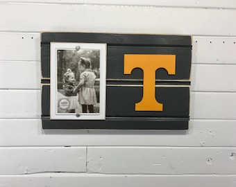 "University of Tennessee Volunteers picture frame holds 4""x6"" photo, decor"