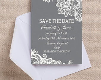 Charcoal Grey and White Vintage Lace Wedding Save the Date Cards