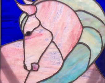 Pink horse stained glass panel