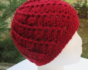 Crocheted Womans Hat - Spiral - Autumn Red - Beanie, Cloche
