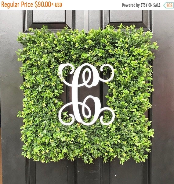 SUMMER WREATH SALE Custom Painted Monogram Artificial Boxwood Wreath, Square or Round, Christmas Wreath, Fall Decor, As seen on the Today Sh