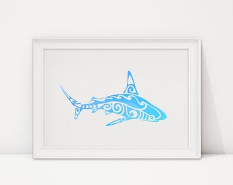 Blue shark wall decor print. Printable art. Modern poster. Digital print.