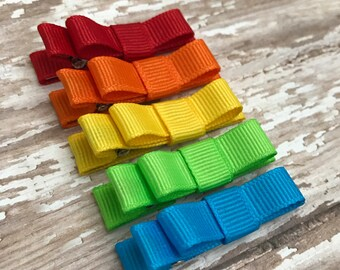 Baby Bow Hair Clips - Hair Clip for Baby - Baby Hair Clip - Set of baby barrettes - Baby Shower Gift - Rainbow Hair Bow - Girls Hair Bows