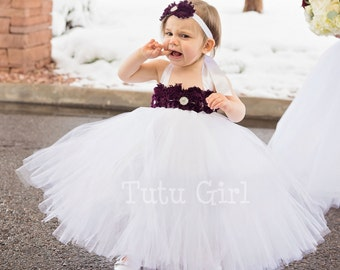 Eggplant Flower Girl Dress, White and Eggplant Tulle Dress, Plum Tutu Dress, Eggplant Baby Flower Girl Dress, Toddler Flower Girl Dress
