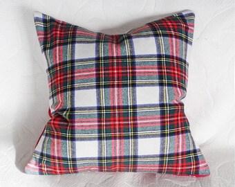 Farmhouse Decor, Plaid Pillow, Christmas Pillow, Throw Pillow Cover, White Red Plaid Pillow, Wool Cushion, Zipper, Stewart Plaid, 18, 20, 22